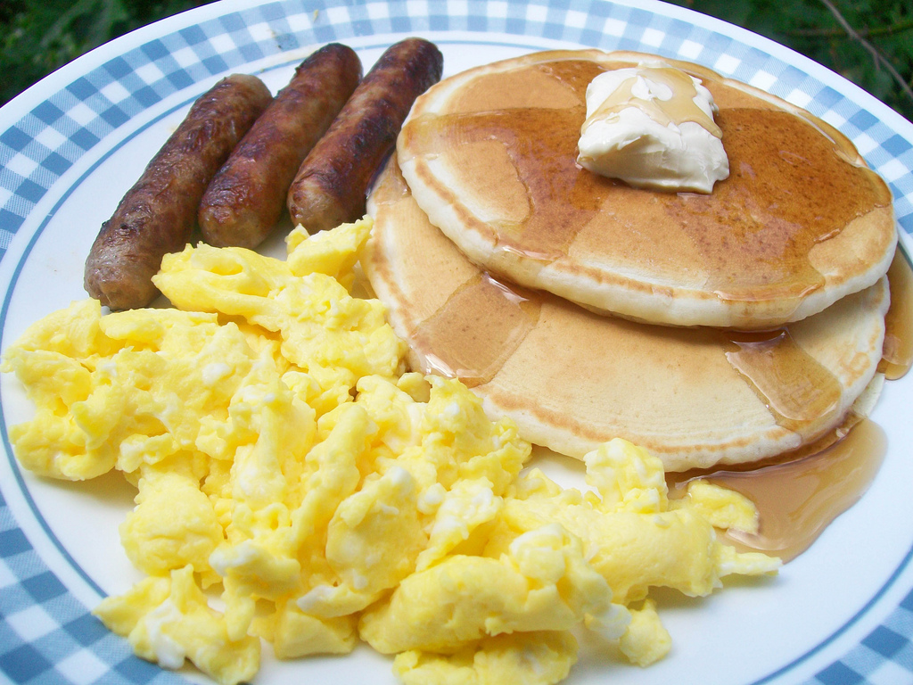 Eggs, Sausage and Pancakes